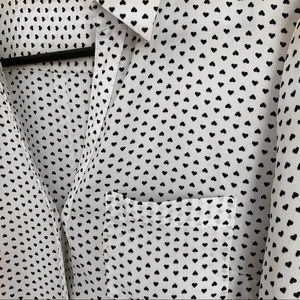 The Limited top - White button down heart print